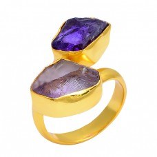 Amethyst Rough Gemstone 925 Sterling Silver Gold Plated Band Designer Ring