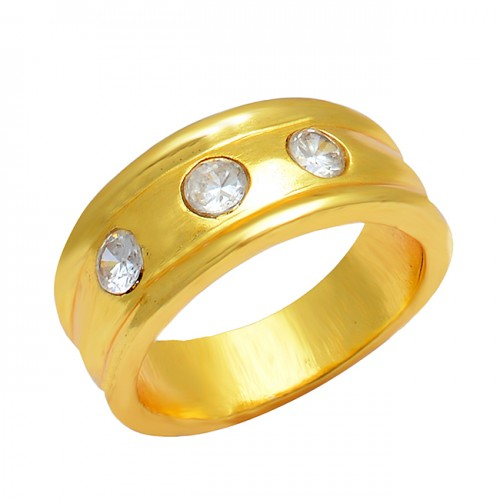 925 Sterling Silver Cubic Zirconia Round Shape Gemstone Gold Plated Designer Ring