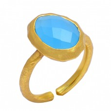 Oval Shape Blue Chalcedony Gemstone 925 Sterling Silver Gold Plated Ring Jewelry