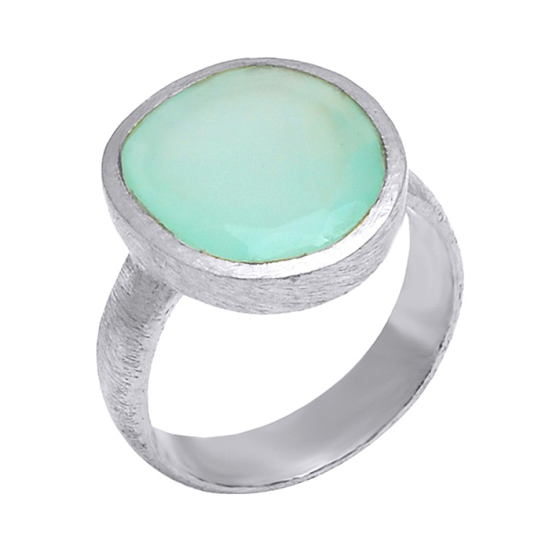 Oval Shape Chalcedony Gemstone 925 Sterling Silver Gold Plated Designer Ring