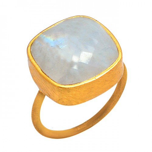 Cushion Cabochon Rainbow Moonstone 925 Sterling Silver Gold Plated Ring Jewelry