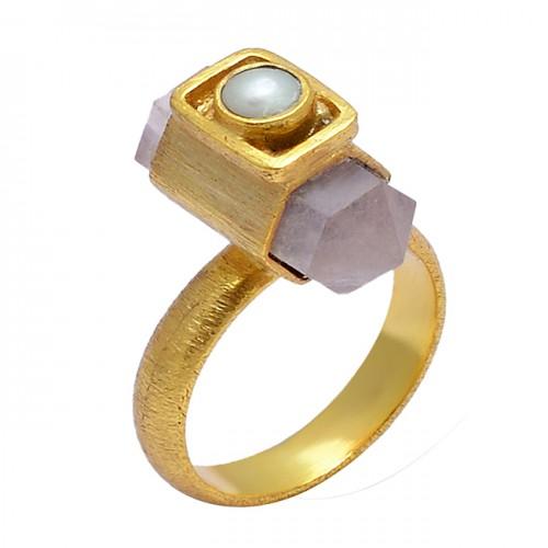 Rose Quartz Pearl Gemstone 925 Sterling Silver Gold Plated Handmade Designer Ring