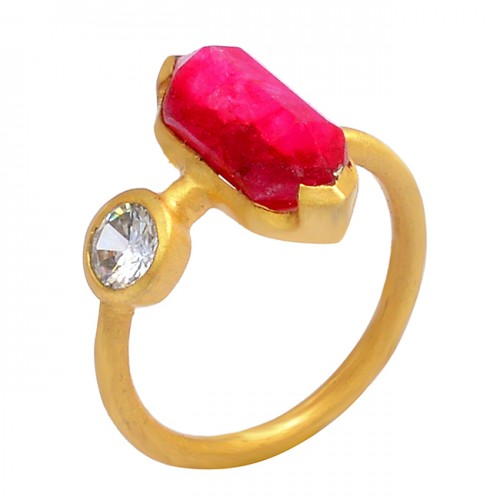 Ruby Cubic Zirconia Gemstone 925 Sterling Silver Gold Plated Handcrafted Designer Ring