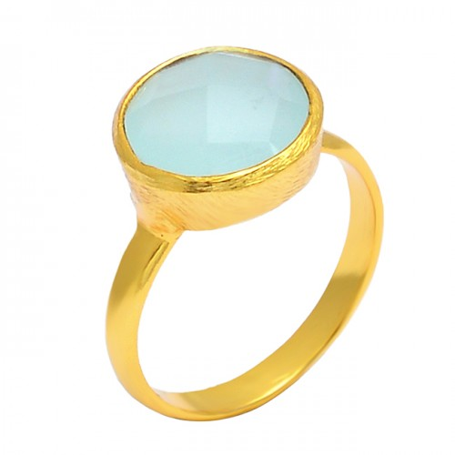Round Shape Chalcedony Gemstone 925 Sterling Silver Gold Plated Handmade Ring