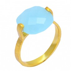 925 Sterling Silver Cushion Shape Chalcedony Gemstone Gold Plated Designer Ring