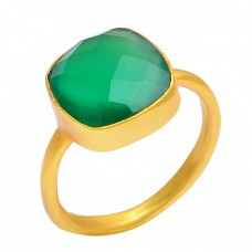 Cushion Shape Green Onyx Gemstone 925 Sterling Silver Gold Plated Handmade Ring