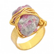Handmade Designer Tourmaline Raw Material Rough Gemstone Gold Plated Ring