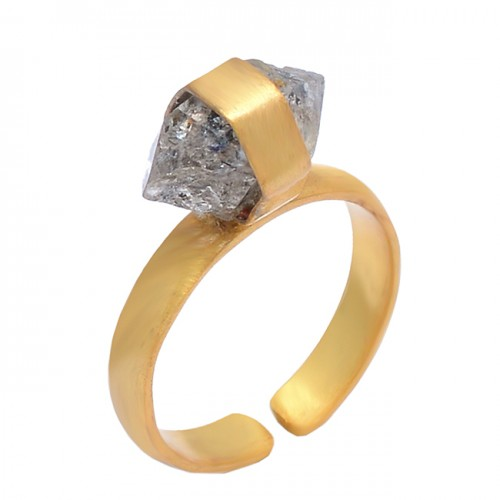 925 Sterling Silver Herkimer Diamond Rough Gemstone Gold Plated Adjustable Ring