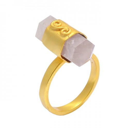 Pencil Shape Rose Quartz 925 Sterling Silver Gold Plated Handcrafted Designer Ring