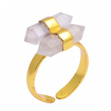 Rose Quartz Pencil Shape Gemstone 925 Sterling Silver Gold Plated Adjustable Ring