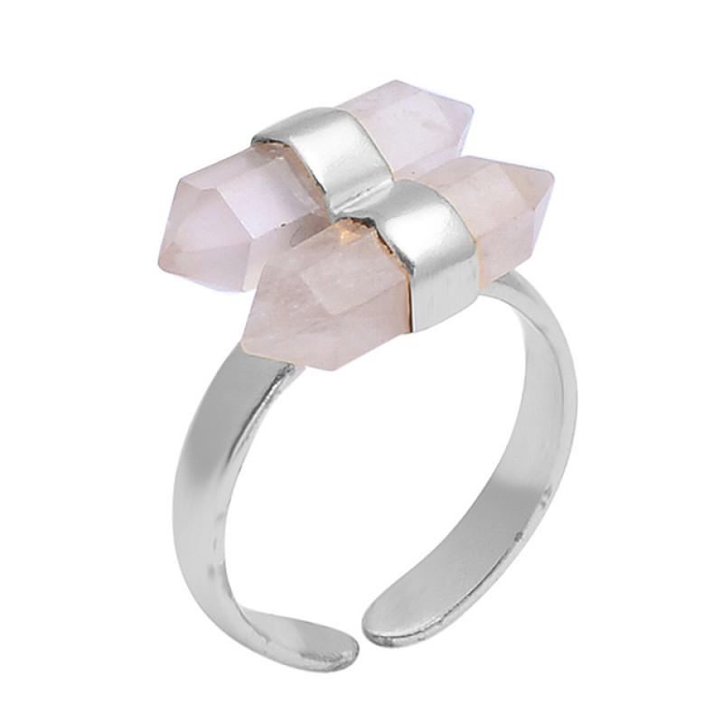 Rose Quartz Pencil Shape Gemstone 925 Sterling Silver Gold Plated Adjustable Ring