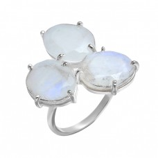 Oval Shape Rainbow Moonstone 925 Sterling Silver Prong Setting Designer Ring
