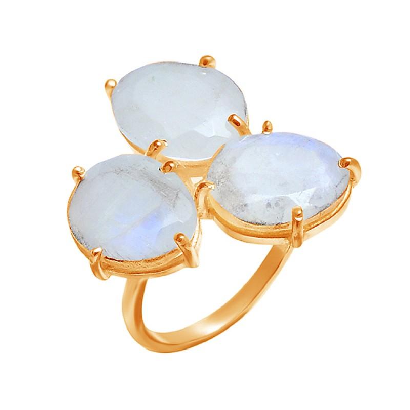 Oval Shape Rainbow Moonstone 925 Sterling Silver Prong Setting Designer Ring