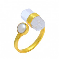 Crystal Pearl Gemstone 925 Sterling Silver Gold Plated Handcrafted Designer Ring