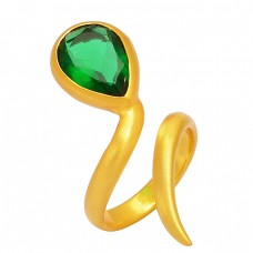 Green Quartz Pear Shape Gemstone 925 Silver Gold Plated Band Style Designer Ring