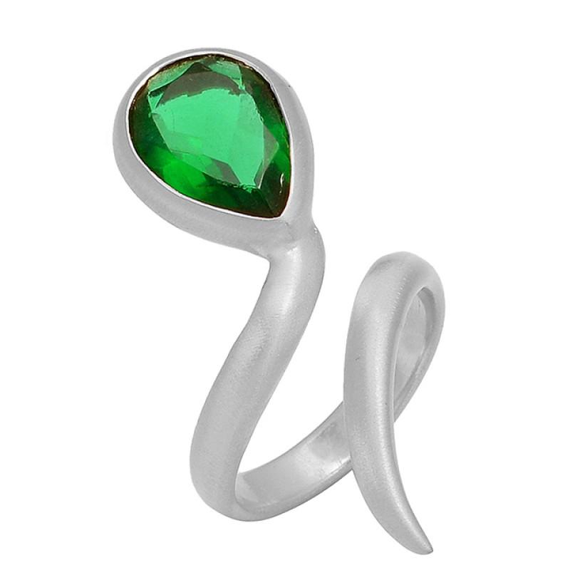 Green Quartz Pear Shape Gemstone 925 Silver Gold Plated Band Style Designer Ring