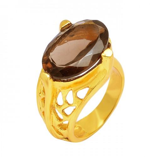 Oval Shape Smoky Quartz Gemstone 925 Sterling Silver Gold Plated Designer Ring