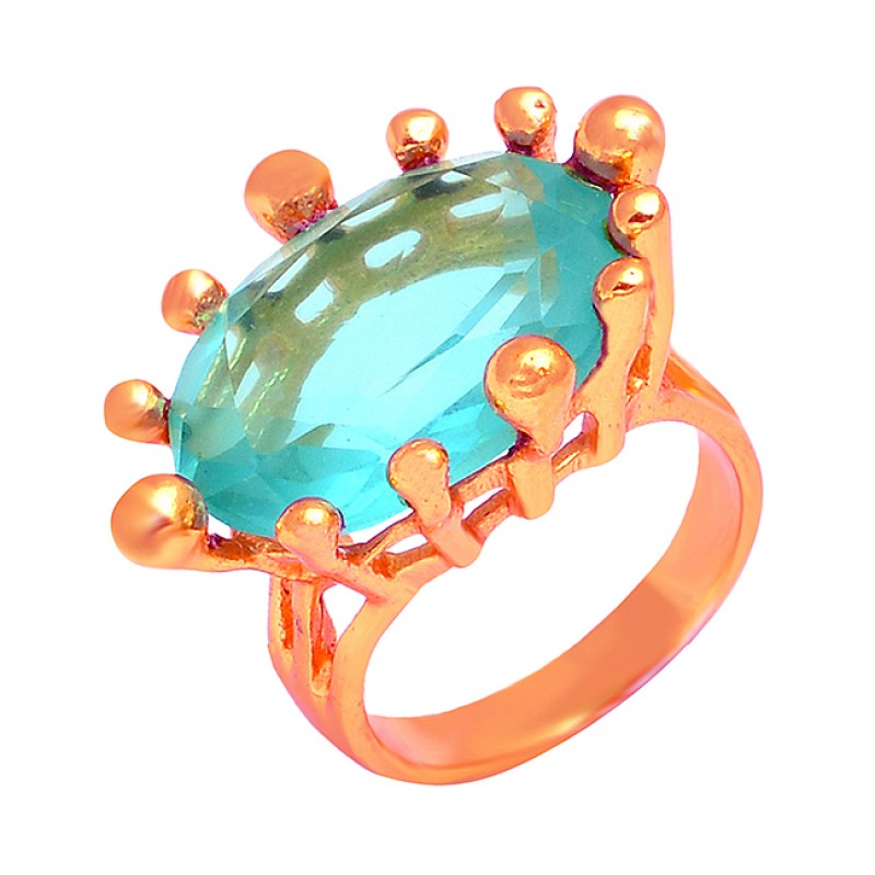 925 Sterling Silver Stylish Blue Topaz Gemstone Gold Plated Ring Jewelry