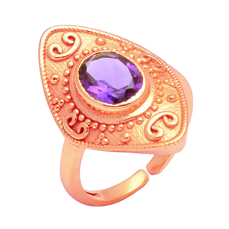 925 Sterling Silver Oval Shape Amethyst Gemstone Gold Plated Handmade Ring