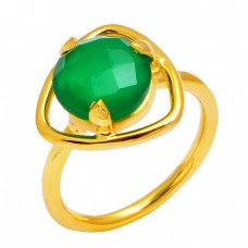 Green Onyx Round Shape Gemstone 925 Sterling Silver Gold Plated Ring Jewelry