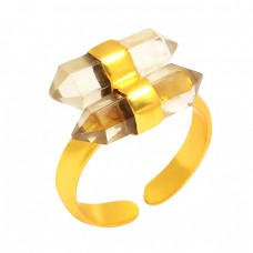 Pencil Shape Crysal Quartz Gemstone 925 Sterling Silver Gold Plated Ring Jewelry