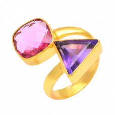 925 Sterling Silver Amethyst Pink Quartz Gemstone Gold Plated Band Designer Ring