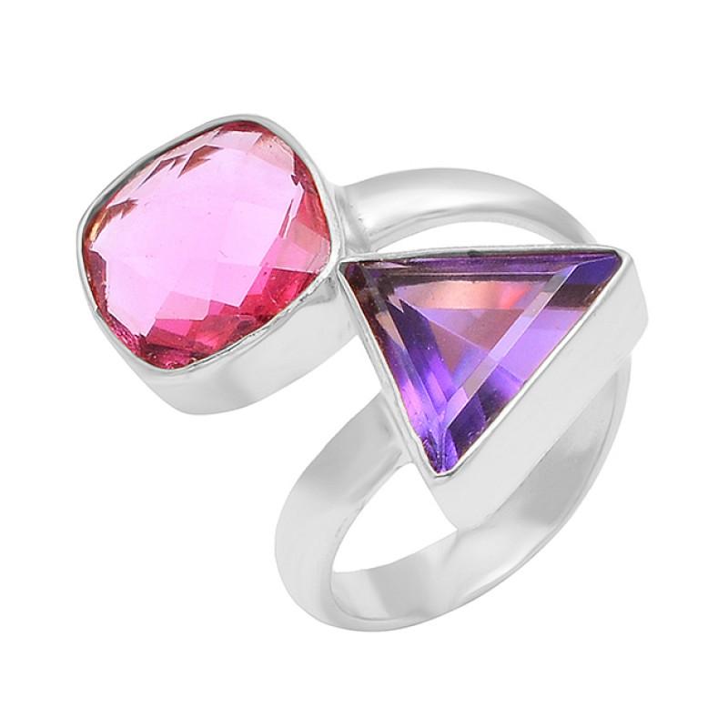 925 Sterling Silver Amethyst Pink Quartz Gemstone Gold Plated Band Designer Ring