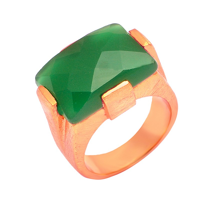 Green Onyx Rectangle Shape Gemstone 925 Silver Gold Plated Fashionable Ring