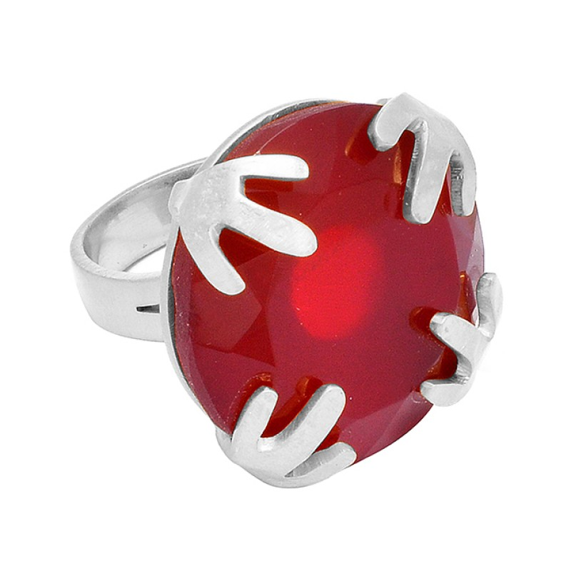 925 Sterling Silver Red Onyx Cushion Shape Gemstone Unique Gold Plated Ring