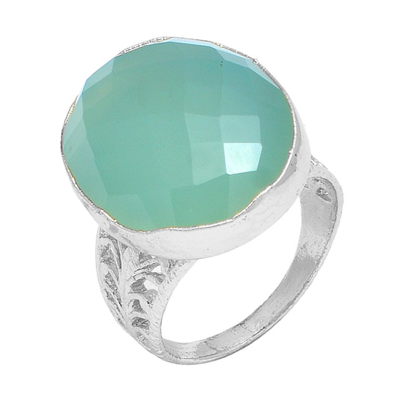 Aqua Chalcedony Oval Shape Gemstone 925 Sterling Silver Gold Plated Designer Ring