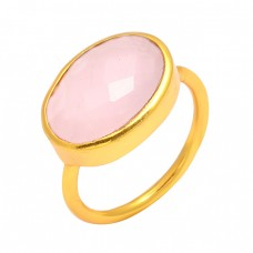 Oval Shape Pink Chalcedony Gemstone 925 Sterling Silver Gold Plated Handmade Ring