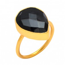 Pear Shape Black Onyx Gemstone 925 Sterling Silver Gold Plated Handcrafted Designer Ring