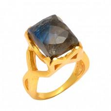 Rectangle Shape Labradorite Gemstone 925 Sterling Silver Gold Plated Designer Ring