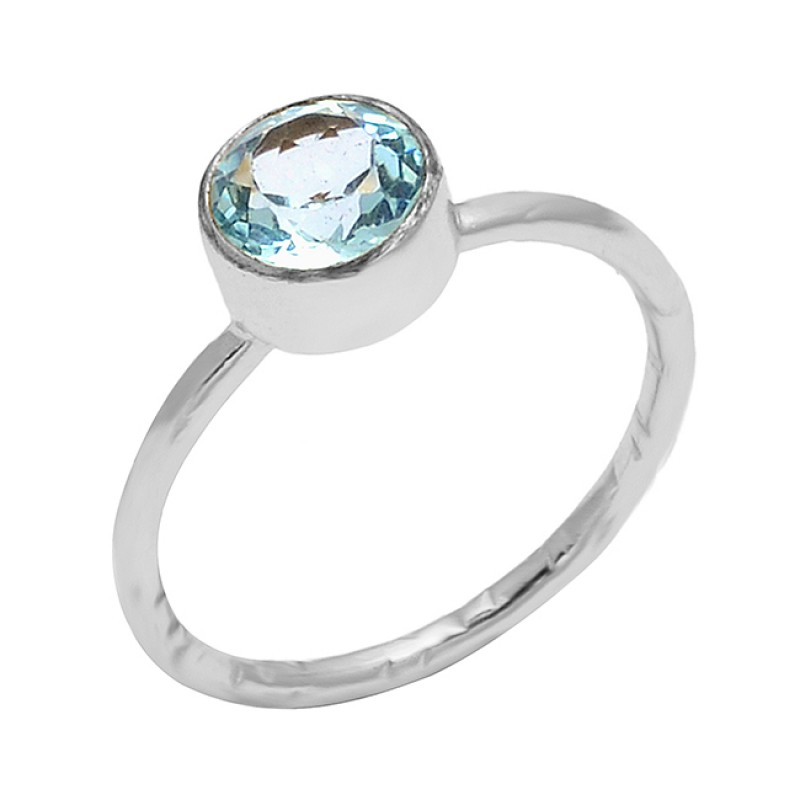 Blue Topaz Round Shape Gemstone 925 Sterling Silver Gold Plated Designer Ring Jewelry