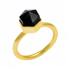 925 Sterling Silver Black Onyx Pencil Shape Gemstone Handmade Gold Plated Ring