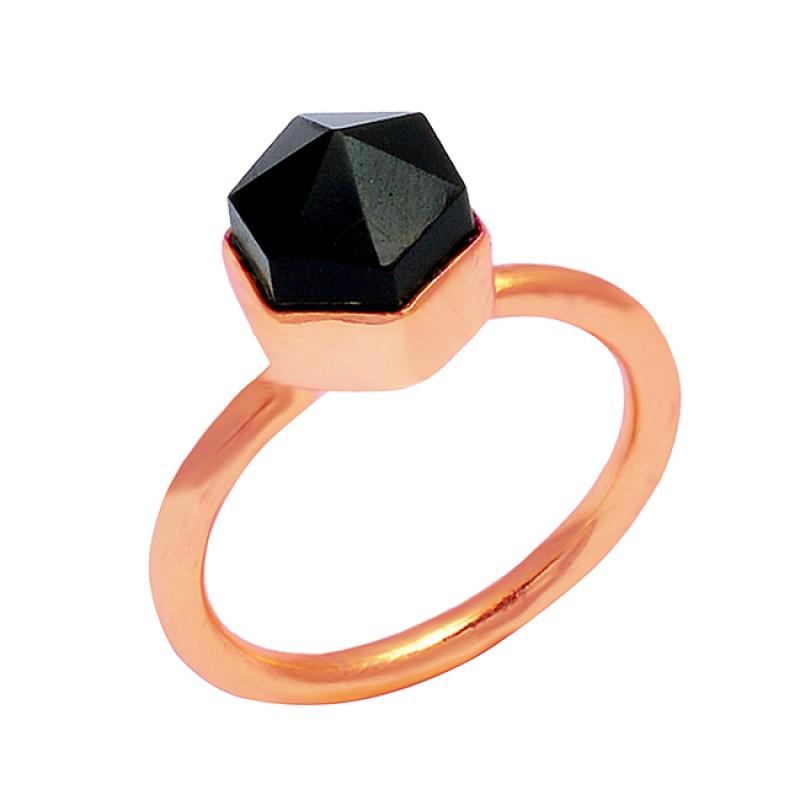925 Sterling Silver Black Onyx Pencil Shape Gemstone Handmade Gold Plated Ring