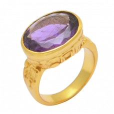 Oval Shape Amethyst Gemstone 925 Sterling Silver Gold Plated Designer Ring Jewelry
