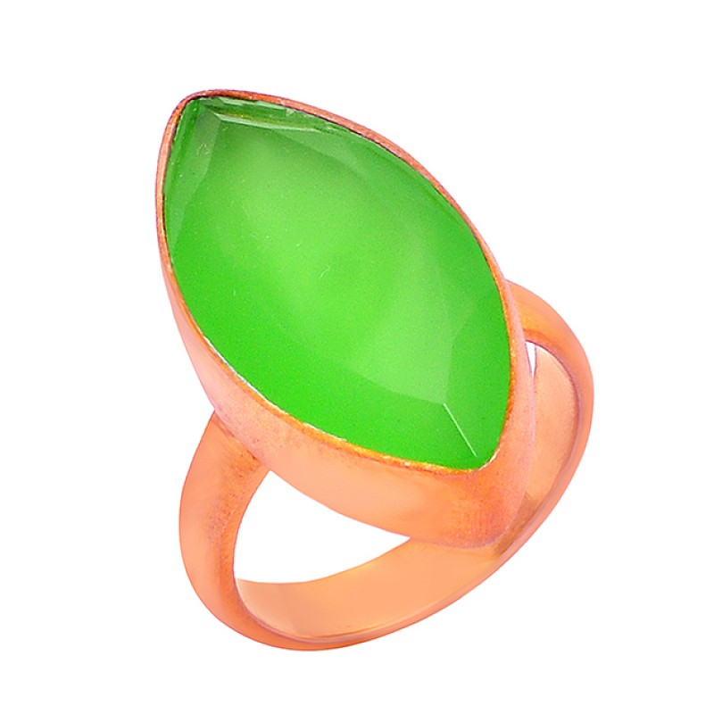 Marquise Shape Chalcedony Gemstone 925 Sterling Silver Gold Plated Handmade Ring