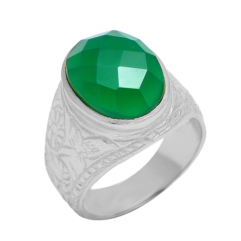 Oval Shape Green Onyx Gemstone 925 Sterling Silver Gold Plated Handmade Ring Jewelry