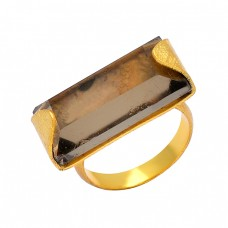 Smoky Quartz Rectangle Shape Gemstone 925 Sterling Silver Gold Plated Designer Ring