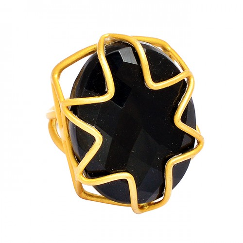 Black Onyx Oval Shape Gemstone 925 Silver Handcrafted Designer Gold Plated Ring