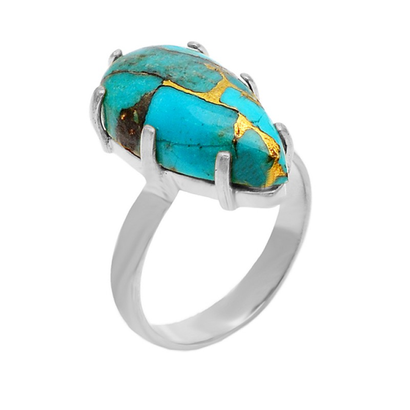 Handmade Prong Setting Turquoise Pear Cabochon Gemstone 925 Sterling Silver Gold Plated Jewelry Ring