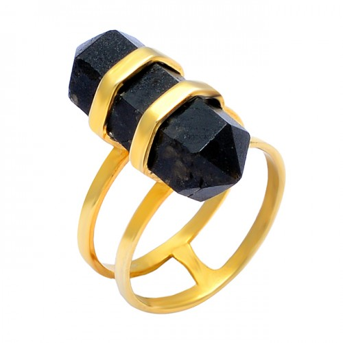 Pencil Shape Black Onyx Gemstone 925 Sterling Silver Gold Plated Handmade Ring Jewelry