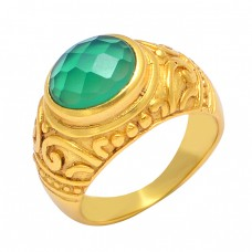 Oval Shape Green Onyx Gemstone 925 Sterling Silver Gold Plated Designer Ring