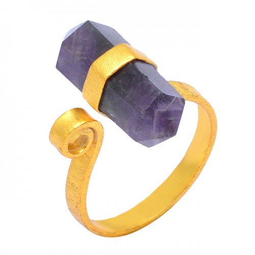 925 Sterling Silver Amethyst Pencil Shape Gemstone Gold Plated Handmade Designer Ring