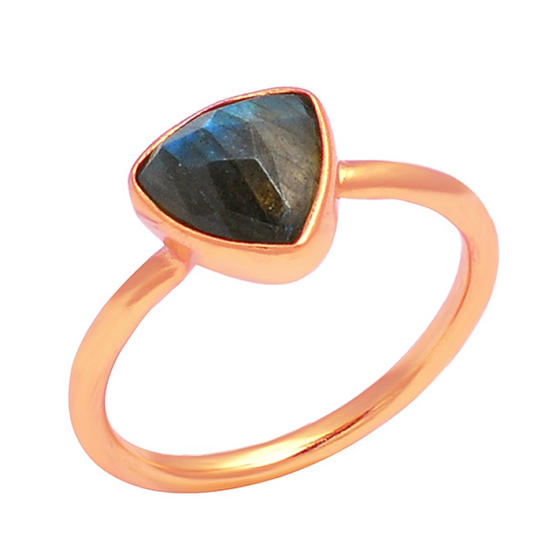 Triangle Shape Labradorite Gemstone 925 Sterling Silver Gold Plated Handmade Ring
