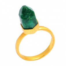 Stylish Pencil Shape Emerald Gemstone 925 Sterling Silver Gold Plated Handmade Designer Ring