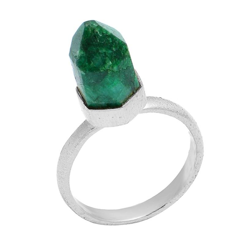 Stylish Pencil Shape Emerald Gemstone 925 Sterling Silver Gold Plated Handmade Designer Ring