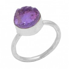 Amethyst Rough Gemstone 925 Sterling Silver Gold Plated Handcrafted Designer Ring