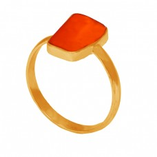 Plain Designer Ring Carnelian Fancy Shape Gemstone 925 Sterling Silver Gold Plated Jewelry
